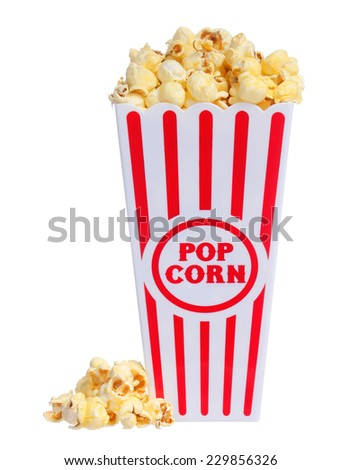 Popcorn in box isolated