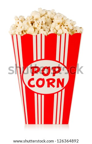 popcorn in box on white background - stock photo