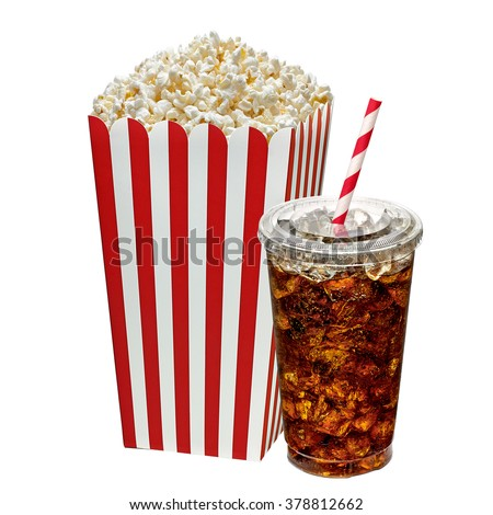 Popcorn in box with cola in takeaway cup on white background   - stock photo