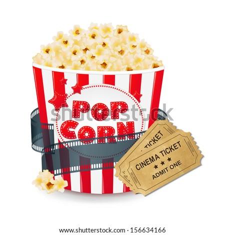 Popcorn In Cardboard Box With Ticket Cinema  - stock photo