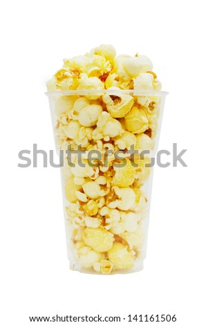 Popcorn in clear cup - stock photo