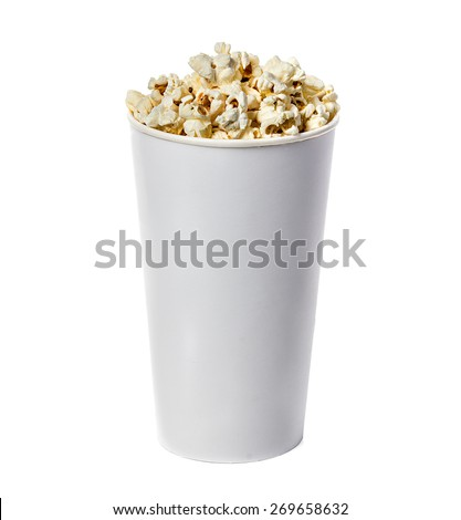Popcorn isolated in cardboard box on a white background - stock photo