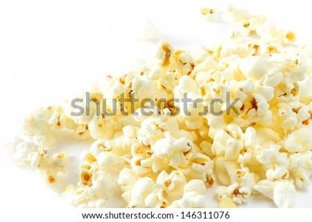 Popcorn isolated on white background - stock photo