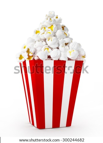 Popcorn isolated on white background.