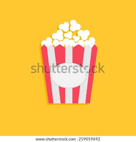 Popcorn package bag with empty label tag. Cinema icon in flat dsign style - stock photo