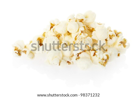 Popcorn pile isolated on white, clipping path included - stock photo