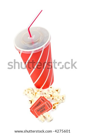 Popcorn, two tickets and soda on white background - stock photo