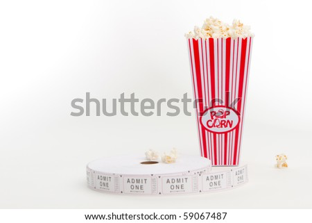 Popcorn with a sign and ticket reel - stock photo