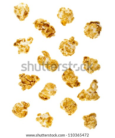 popcorn with caramel  isolated on white - stock photo