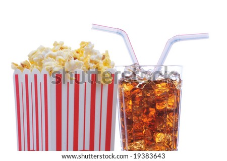Popcorn with glass of soda and two straws isolated over white - stock photo