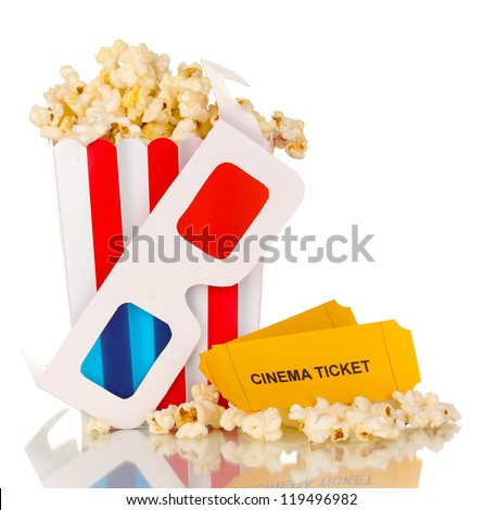 popcorn with glasses and tickets isolated on white - stock photo