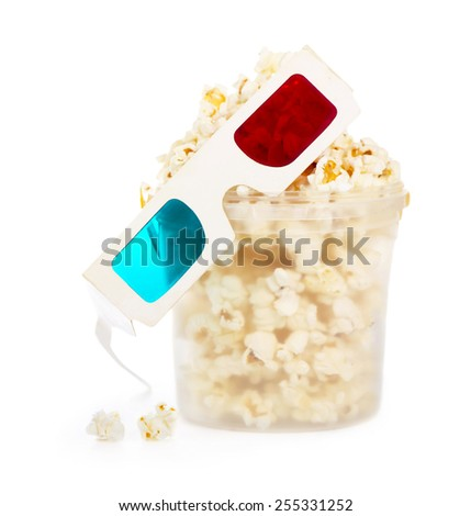 popcorn with glasses isolated on white - stock photo