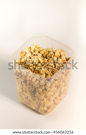 Popcorn with isolated on white. - stock photo