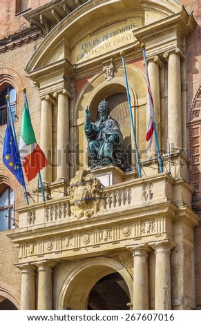 Pope Gregory XIII statue on the building Palazzo Comunale, Bologne, Italy - stock photo
