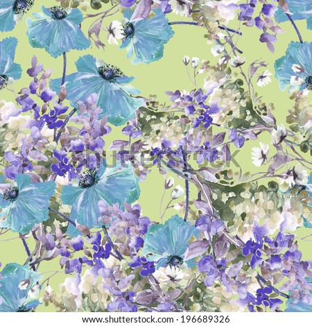 Poppies and Summer Blue Flowers seamless pattern.  - stock photo
