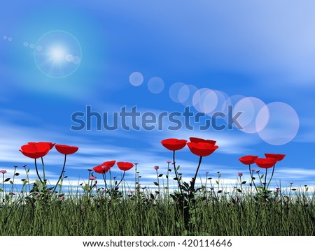 Poppies by day - 3D render - stock photo