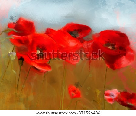 Poppies field - Oil Painting - stock photo