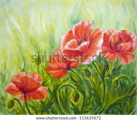 Poppies, , oil painting on canvas - stock photo
