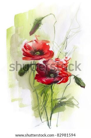 Poppies on green - stock photo