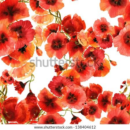Poppies Seamless Pattern - stock photo