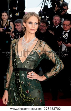Poppy Delevingne attends the 'Carol' premiere during the 68th annual Cannes Film Festival on May 17, 2015 in Cannes, France. - stock photo