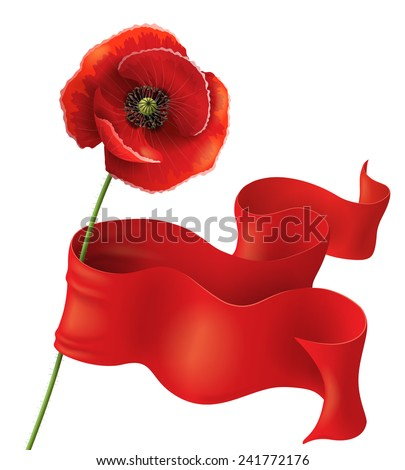 Poppy flower with red ribbon on white. Remembrance Day background. - stock photo