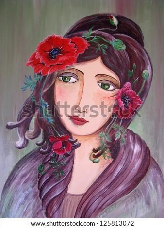 Poppy girl - stock photo