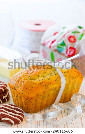 Poppy Seed Bread Loaf made for Christmas Season - stock photo