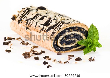 Poppy seed cake isolated over white background