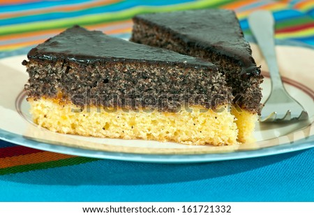 Poppy seed cake on the plate - stock photo