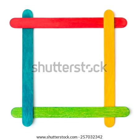 Popsicle Sticks Arranged Frame Formation Isolated Stock Photo ...