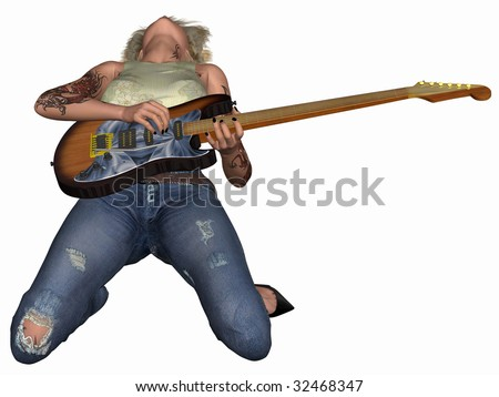 Popstar with Guitar - stock photo