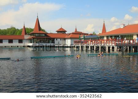 Popular balneal resort at lake Heviz, Hungary - stock photo
