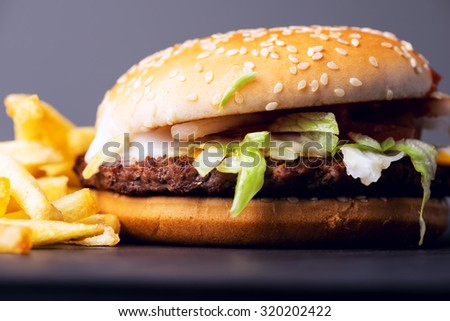 Popular fastfood: soft hamburger with fresh meat