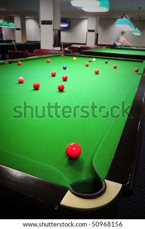 popular game of billiards - stock photo