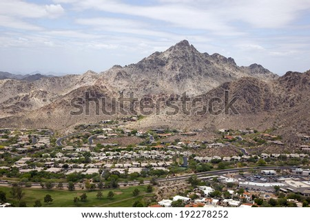 Popular hiking and recreation area called Piestewa Peak in Phoenix, Arizona - stock photo
