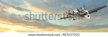 popular light aircraft private aircraft flight in the panorama sky - 3d rendering