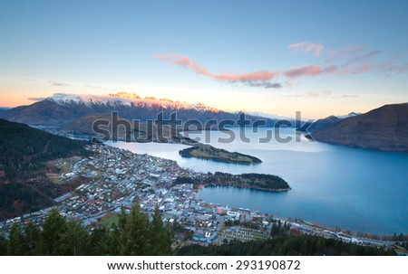Popular spectacular view of Queenstown in New Zealand - stock photo