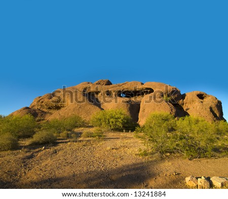 Popular tourist attraction the exposed desert butte at Papago Park between Tempe and Scottsdale,Arizona - stock photo