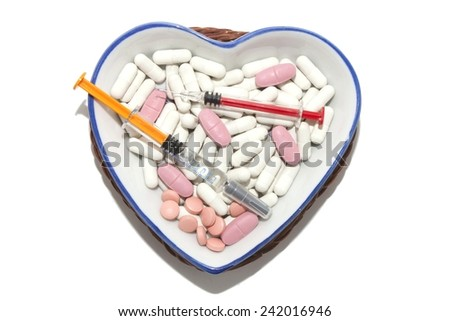 Porcelain bowl with drug treatment for the disease - stock photo