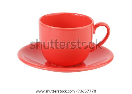 Porcelain coffee set pink on a white background