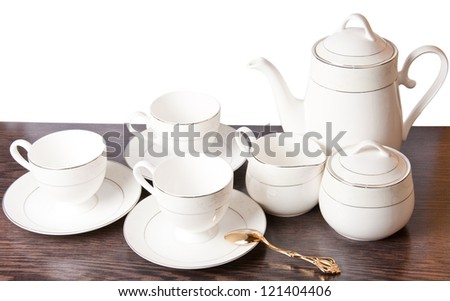 Porcelain dishware - stock photo