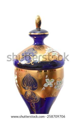 porcelain jar isolated on white background - stock photo