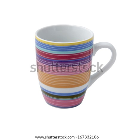 Porcelain mug in a strip - stock photo