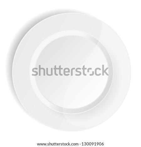porcelain plate on white background - stock photo