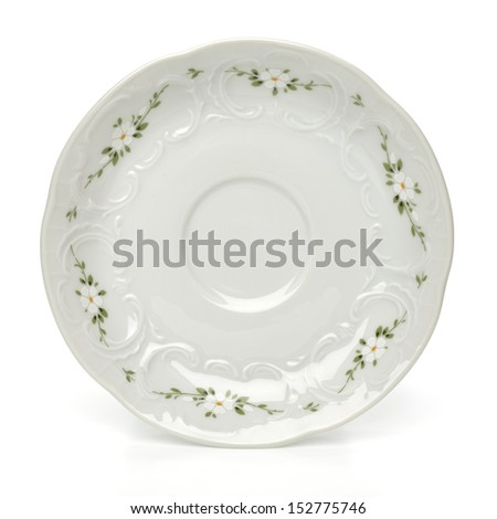 Porcelain saucer with clipping path - stock photo