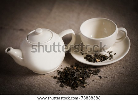 Porcelain service for coffee and tea - stock photo