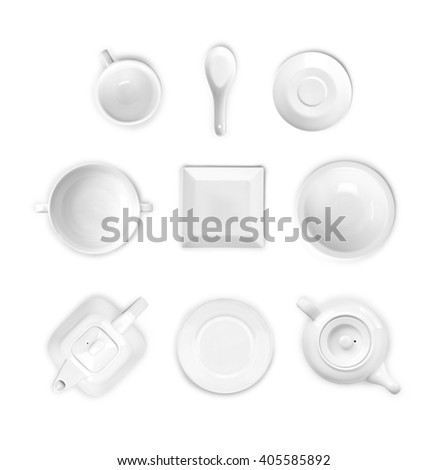 porcelain tableware view from above on white - stock photo