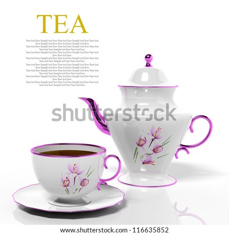 Porcelain teapot and teacup on white background - stock photo