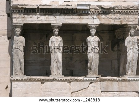 Porch of the Karyatids, Erechtheion at Acropolis Hill - stock photo